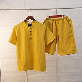 Bộ đũi nam cộc tay cổ tàu, chất đũi Thái, form chuẩn mặc mát lạnh, nhiều màu lựa chọn, bộ đũi mặc nhà