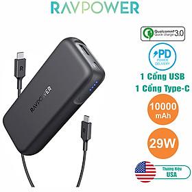 Pin Sạc Dự Phòng Nhỏ Gọn RAVPower 10000mAh Quick Charge 3.0 + PD 29W, In/Out Type-C - RP-PB186 - Hàng Chính Hãng