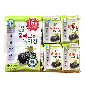 Bịch 16 Gói Lá Kim Ăn Liền Hàn Quốc Vị Trà Xanh Và Oliu Sung Gyung (16 gói x 4g)