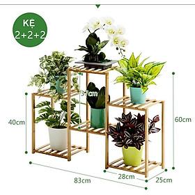 Kệ để chậu hoa trồng cây cảnh trang trí chất liệu gỗ tre để trong nhà ngoài trời sân vườn ban công phong cách Bắc Âu