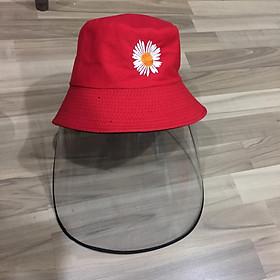 Nón Bucket Tai Bèo Thời Trang Unisex Chống Dịch, Chống Bụi Có Tấm Kính Dẻo Tháo Được Kính Họa Tiết Hoa Cúc Hot Trend