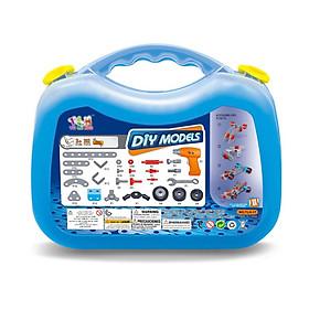 Đồ chơi phát triển kỹ năng cho bé DIY MODEL, lắp ghép mô hình 12 phương tiện giao thông 282 chi tiết Toyshouse TLH-17