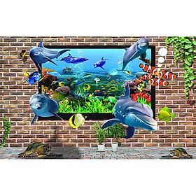 Tranh dán tường cửa sổ phong cảnh 3d 6