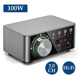 HIFI BT5.0 Digital Amplifier Mini Stereo Audio Amp 100W Dual Channel Sound Power Audio Receiver Stereo AMP USB AUX for