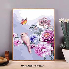 Tranh sơn dầu số hóa tự tô màu theo số Tranh hoa mẫu đơn và chim nhẹ nhàng sang trọng trang trí phòng khách HL0929