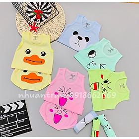 Quần áo trẻ em- Combo 5 bộ ba lỗ bé trai/bé gái, 100% cotton size 3-14kg ( sét ba lỗ môi )