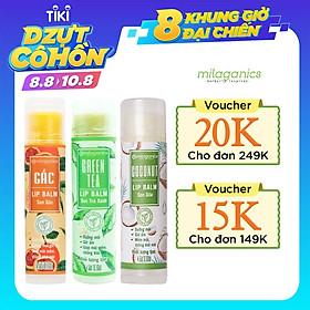 Combo Son Trà Xanh + Son Gấc + Son Dừa Dưỡng Môi, Giảm Thâm, Hồng Môi Milaganics (4.5g / Cây)