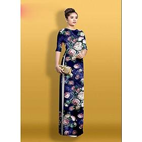 Set áo dài truyền thống in hoa 3d cao cấp - ML02