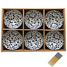 Bộ 6 Chén Bát Cơm Sứ Phong Cách Nhật Bản Hoa Văn Sắc Xưa Giả Cổ (Họa Tiết Hoa Dây) - Tặng 06 Đôi Đũa Hoa Văn Nhật Bản