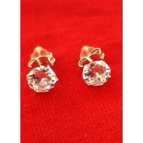 Bông tai nữ Bạc Quang Thản, khuyên tai nụ chốt đeo sát tai gắn đá kim cương nhân tạo sáng chất liệu bạc thật không xi mạ, phong cách đơn giản, thích hợp đeo thời trang, làm quà tặng – QTBT12
