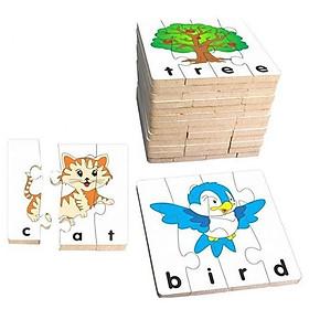 Ghép hình học chữ Tiếng anh bằng gỗ 63442