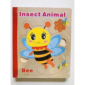 Sách gỗ ghép hình - Combo 2 cuốn sách gỗ ghép hình cho bé 1 tuổi Gnu07