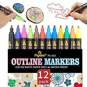 Double Line Outline Pens,12 Colours Outline Pens Fluorescent Glitter Two-Line Pen Permanent Marker Waterproof Pen for Card Making