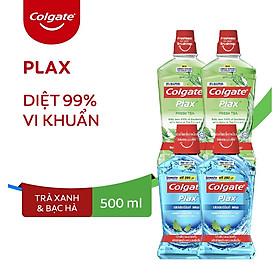 Combo 4 Nước súc miệng Colgate diệt 99% vi khuẩn Plax trà xanh và Plax bạc hà 500ml/chai