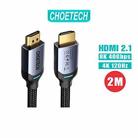Dây Cáp Dù Lõi HDMI 2.1 8K 48Gbps, 4K 120Hz Dài 2M CHOETECH XHH01 Dùng Cho Tivi/ Máy Tính/ Playstaysion - Hàng Chính Hãng