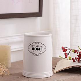 Hình đại diện sản phẩm Bình hoa gốm sứ trắng in chữ - BHIC01