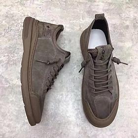 Giày nam cao cấp da bò - giày nam buộc dây da lộn đế cao su đúc mẫu mới nhất Hot trend 2021 GN429