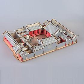 Đồ chơi lắp ráp gỗ 3D Mô hình nhà gỗ Tứ hợp viên Laser