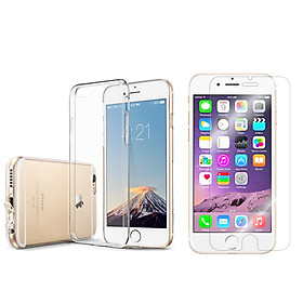 Bộ Kính Cường Lực Winner (Trong suốt) + Ốp Lưng Dẻo Dada Iphone 6 Plus/6S Plus