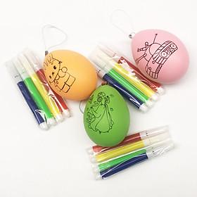 Combo 3 quả trứng kèm bút lông màu cho bé tập tô màu