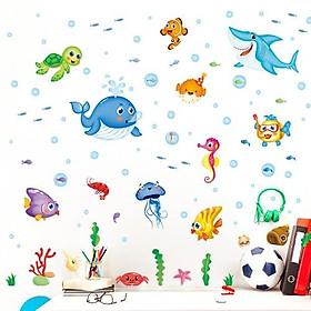 Decal dán tường đàn cá nhỏ ngộ nghĩnh cho bé XL7206