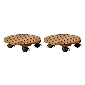 Combo 2 vỉ gỗ có bánh xe để ngoài trời - chậu cây