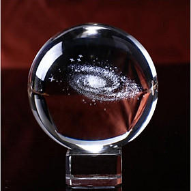 (Toponeto)  3D Solar System crystal ball Engraved Solar System Miniature Planets Model