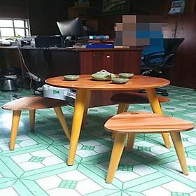 BỘ BÀN CAFE BẰNG GỖ CAO CẤP HÀNG TRONG NƯỚC 1 BÀN TRÒN 3 GHẾ TAM GIÁC