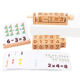 Wooden Number Blocks Moveable Spinning Number Matching Blocks Basic Math Arithmetic Learning with 50pcs Cards