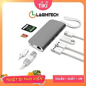Bộ chuyển 8 in 1 USB C sang cổng HDMI / đầu đọc thẻ SD-TF / 3x USB 3.0 / đầu mạng RJ45 / Type C nguồn - Màu ngẫu nhiên