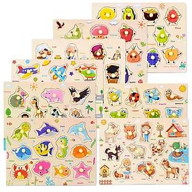 Bảng ghép hình có núm - Bộ đầy đủ 10 chủ đề khác nhau ( 10 bảng) - đồ chơi trí tuệ MK