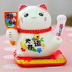 Mèo Thần Tài sứ 10cm tay vẫy bằng năng lượng mặt trời - thẻ bài đa phúc