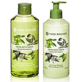 Combo Gel tắm Yves Rocher 400ml + Dưỡng thể Yves Rocher 390ml - Hương olive và tinh dầu cỏ chanh
