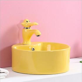 Bộ chậu rửa tay trẻ em hình tròn, kèm vòi lavabo hình con voi, màu vàng