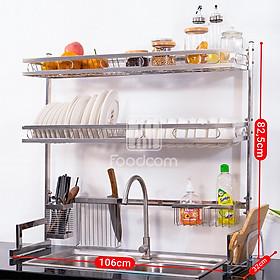 Kệ chén bát đa năng Foodcom kích thước 1-2 TẦNG  106 cm dùng cho bồn đôi bằng inox cao cấp không gỉ, để bát đĩa trên bồn rửa gọn gàng sàng sẽ, tiết kiệm không gian bếp