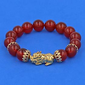 Vòng đeo tay đá Mã Não đỏ 12 ly - cẩn Tỳ Hưu Phong Thủy Chiêu Tài Lộc inox vàng VMNOTHBKV12