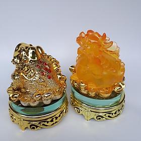 Combo cóc ba chân (Thiềm thừ) và Tỳ hưu phong thủy để bàn - trấn trạch,chiêu tài lộc, cao 15cm (vàng)