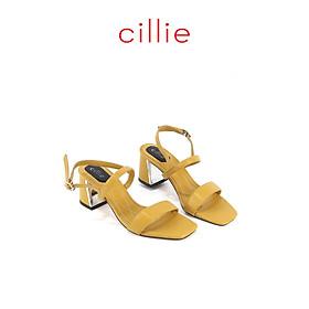 Giày sandal quai ngang gót xéo cao 5cm Cillie 1083