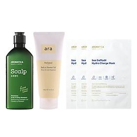 Combo Dầu gội chăm sóc da đầu Aromatica Rosemary Scalp Scaling Shampoo 250ml, Sữa tắm hương nước hoa Ara Perfumed Bath & Shower Gel 200ml (tặng 3 mặt nạ dưỡng da Aromatica)