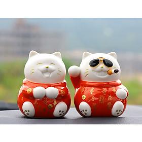 Cặp tượng mèo thần tài hạnh phúc mang tài lộc vượng khí