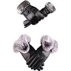 Combo găng tay da nam,nữ đi phượt mùa đông, lót nỉ, cảm ứng, giữ ấm, chống nước, chống bong tróc