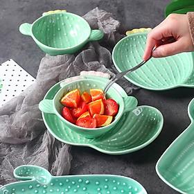 Nordic Style Creative Ceramic Tableware Plant Cactus Cute Plate Breakfast Bowl Household Tableware Snack Dish Fruit Salad Plate