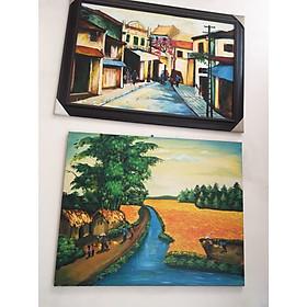 Combo 2 bức tranh sơn dầu phong cảnh vẽ tay Phố Cổ và Làng Quê - Bộ Sưu Tập Tranh Phong Cảnh Đẹp, Hút Khách Năm 2019