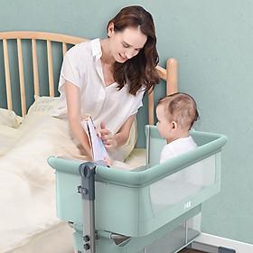 Nôi cho bé đa chức năng, gấp gọn, có bánh xe và màn, ghép cạnh giường cha mẹ