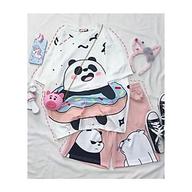Set đồ unisex Gấu trúc gồm 1 quần cartoon kèm 1 áo thun nam nữ form rộng tay lỡ Freesize mặc vừa từ 40-65kg Molly Urban