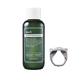 Nước Hoa Hồng Klairs Daily Skin Softening Water 500ml (Dịu nhẹ, giảm thiểu tế bào chết) + Tặng Kèm 1 Băng Đô Tai Mèo ( Màu Ngẫu Nhiên)