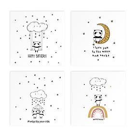 Bộ 4 thiệp vuông 12cm SDstationery PANDA gấu trúc mừng sinh nhật, tình yêu, tình bạn, bố mẹ
