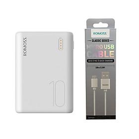 Pin sạc dự phòng 10.000mAh Romoss Simple 10  nhỏ gọn 3 cổng input Micro - Lightning - Type C – Hàng chính hãng + Tặng cáp micro USB tròn CB05 Romoss