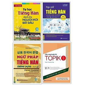 Bộ Sách Tự Học Tiếng Hàn Dành Cho Người Mới Bắt Đầu: Tự Học Tiếng Hàn Dành Cho Người Mới Bắt Đầu + Tập Viết Tiếng Hàn Dành Cho Người Mới Bắt Đầu + Ngữ Pháp Tiếng Hàn Thông Dụng Sơ Cấp (Tập 1) + Cẩm Nang Luyện Thi Topik 1 (Học Kèm App MCBooks) (Tặng Audio books) (Quà Tặng: Bút Blue Đáng Yêu)