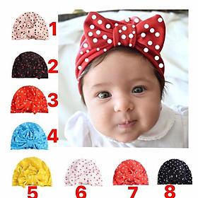 Tuban mũ chấm bi có nơ cho bé (0-1tuổi)